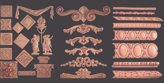Composition ornaments appliques and onlays bomar designs